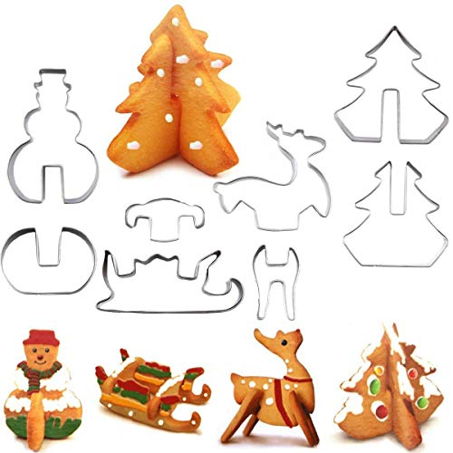 (XYBAGS 3D Christmas Cookie Cutters Set, 8 Piece Cookie Cutters, Holiday Cookie Biscuit Cutter Set - Snowman, Christmas Tree, Reindeer and Sled for Kids Christmas Party)