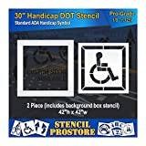 Pavement Stencils - 30 inch - Handicap - ADA Stencil with Border & Background - (2 Piece) - 42'' x 42'' x 1/8'' (128 mil) - Pro-Grade