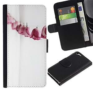 KingStore / Leather Etui en cuir / Apple Iphone 5 / 5S / Paper Roses Línea Metáfora Significado Profundo