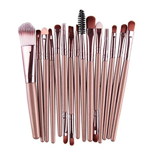 Brush Tool ,BeautyVan 2018 New Design 15 pcs/Sets Eye Shadow Foundation Eyebrow Lip Brush Makeup Brushes Tool (C~Gold)