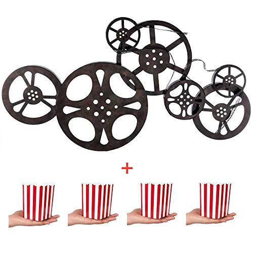 Kitchow Antique Bronze Metal Movie Reel Wall Art, Including 4 Popcorn Boxes ()