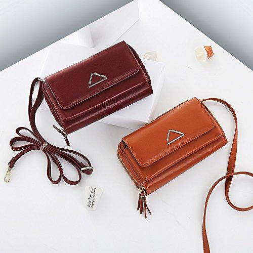 De Bolsos Color Las Crossbody Moda Mini Mujeres Bolso color Size Diseño Shishanyun S Black Hombro Brown Sólido wA54qxgpn