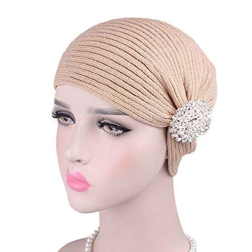 JPOQW Women's Wool Caps Alloy Drill Accessories Wool Scarf Caps Turban Chemo Hats (Hat Wool Drill)