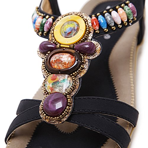 Été Zoerea Bohemia Pu Chaussures Mode Noir Flat Sandales Femmes Cuir UxOZqExwB