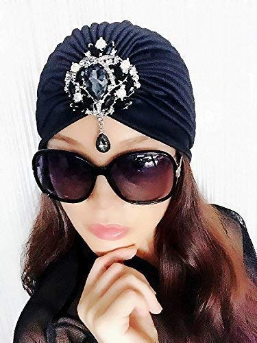 Amazon.comBest Choice And Best DiscountsBlack Gemstone Turbans,Womens Turbans,Full Turbans,Turban,Turban Hat,Stretch Turban,Fashion Turban,Head ...