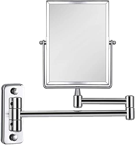 QiMH 3X Magnifying Wall Mounted Vanity Makeup Mirror Rectangular 8×6 Inch with Extendable Arm Polished Chrome Finish Double-Sided Swivel Mirror