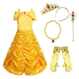 (US) dPois Kids Girls' Halloween Fairy Tale Belle Cosplay Fancy Dress up Ruched Princess Dress with Gloves Tiara Wand Necklace Yellow (6Pcs Set) 7-8