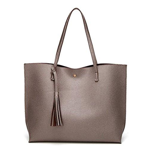 Bags Leather Bronze PU Tote Pebbled Nodykka Handbags Top Shoulder Tassel Handle Women Purse Satchel gEqwOzS