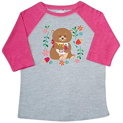 (inktastic - Woodland Bear Floral Toddler T-Shirt 4T Heather and Hot Pink 346ab)