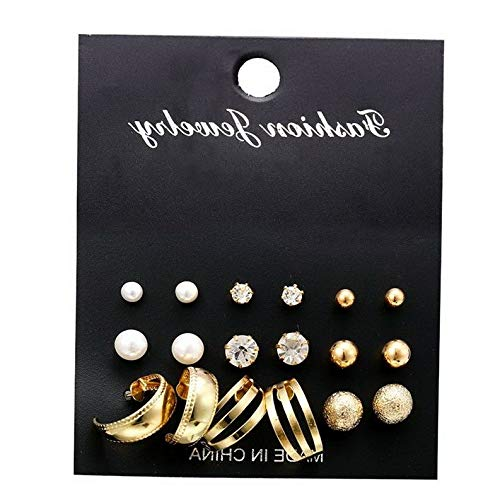 Used, Dokis 9pairs/Set Fashion Pearl Rhinestone Crystal Gold for sale  Delivered anywhere in USA