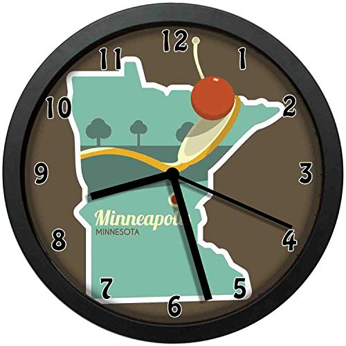 luckboy-zm Flat Design Spoonbridge and Cherry Iconic Minneapolis Landmark in State Map Frame,Large Wall Clock Home Office School Wall Clock 12in(About 30CM)