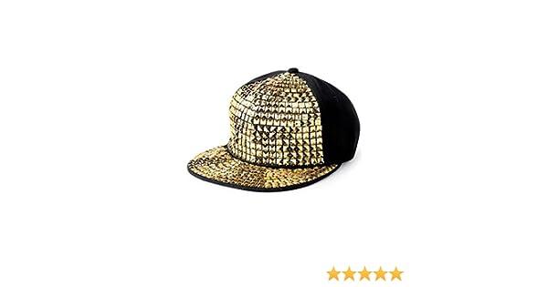 d8e43fea541 Amazon.com  Balera Baseball Cap Flat Bill Gold Pyramid Studs Dance Costume  Accessory  Clothing