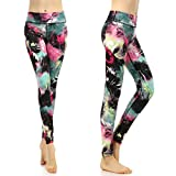 Souteam Women's Workout Leggings High Waist Stretch Yoga Pants, Watercolor Pattern