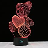 Love Bear 3D Night Light 7 Color LED Touch Table Desk Lamps Energy saving Animal Lights Fashion Creative Home Decoration Gift