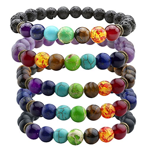 JOVIVI 7 Chakras Gemstone Bracelet 8mm Lave Rock Stones Yoga Reiki Prayer Stone - Pack of 5
