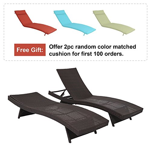 Diensday All-weather Wicker Brown Chaise Lounge Chair, Patio Outdoor Pool Furniture, Adjustable Morden Recliner Couch New, Set of 2 by Diensday
