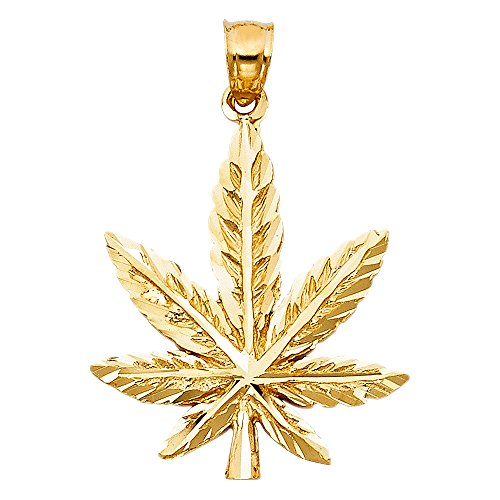 Marijuana Leaf Pendant 14k Yellow Gold Pot Charm 420 Cannabis Diamond Cut Hip Hop Style 27 x 24 mm by ZenJewels