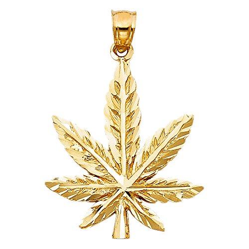 nt 14k Yellow Gold Pot Charm 420 Cannabis Diamond Cut Hip Hop Style 27 x 24 mm (Gold Marijuana Leaf)