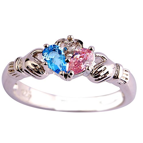 Empsoul 925 Sterling Silver Natural Novelty Created Blue & Pink Topaz Irish Claddagh Friendship & Love Heart Hand Ring Plated Created Diamond Hearts Ring