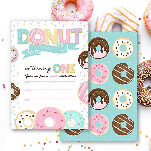 Mocsicka Donut Grow Up First Birthday Invitations Donut Girl's 1st Birthday Party Invite, 20 Fill in Invitations and Envelopes