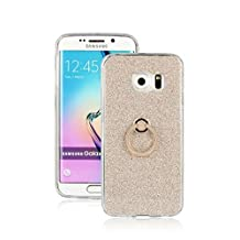 For Samsung Galaxy S6 Edge Case with Fingerring Stand, Full Coverage Soft TPU Flexible Protective Back Cover, Luxury Bling Sparkle Style Protect Case ( Color : Gold )