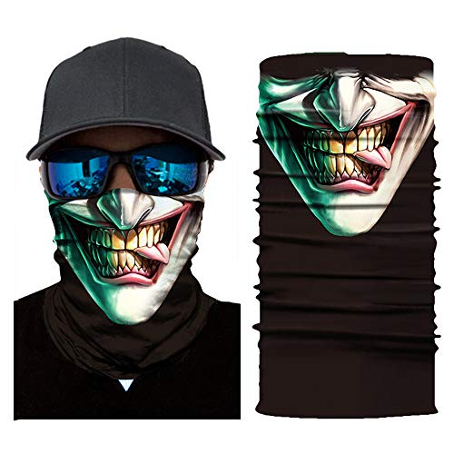 Glumes Face Mask Half Sun Dust Protection Vivid 3D Tube Mask Seamless, Skull/Clown/The Mask Durable Face Mask Bandana Skeleton Face Shield Motorcycle Fishing Hunting Cycling Halloween Party (7-C) for $<!--$0.99-->