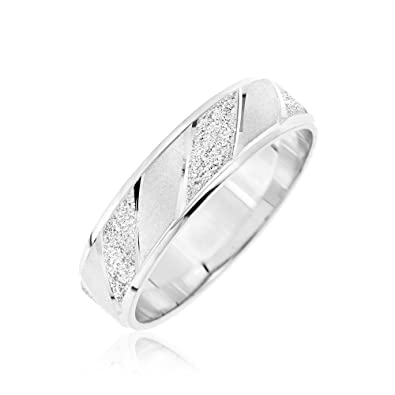 Kareco 9ct White Gold Frosted Diamond Cut 3mm Band Ring moVRx8LZ