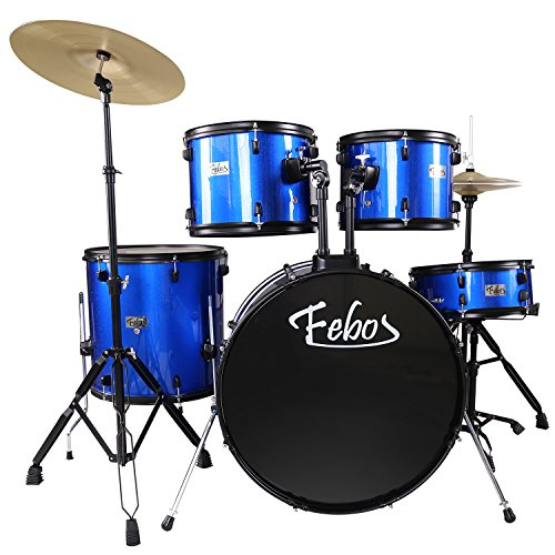 febos-fbs-652-bl-adult-drum-sets-full-size-5-piece-with-cymbals-pedal-throne-drumsticks-blue