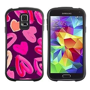 Paccase / Suave TPU GEL Caso Carcasa de Protección Funda para - heart love pink watercolor purple peach - Samsung Galaxy S5 SM-G900