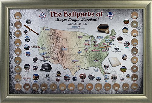 MLB STADIUM GAME USED DIRT MAP PLATINUM EDITION #D /50 COLLAGE COA FRAMED from Inscriptagraphs