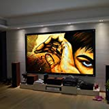 Safekom Portable 100' Inch 16:9 Fabric Matte Projector Projection Screen Home Cinema Theater Manual Pull Down Wide HD 3D Movies White Screens Durable Matt - 1 Year Warranty UK Free & Fast Same Day Dispatch UK Sell