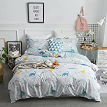 LELVA Dinosaur Bedding Sets Cartoon Kids Bedding for Boys Dinosaur Print Duvet Cover Set 4 Piece (Queen, Fitted Sheet Set)