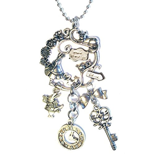 (Alice In Wonderland Pendant Cluster Silver Plated 16