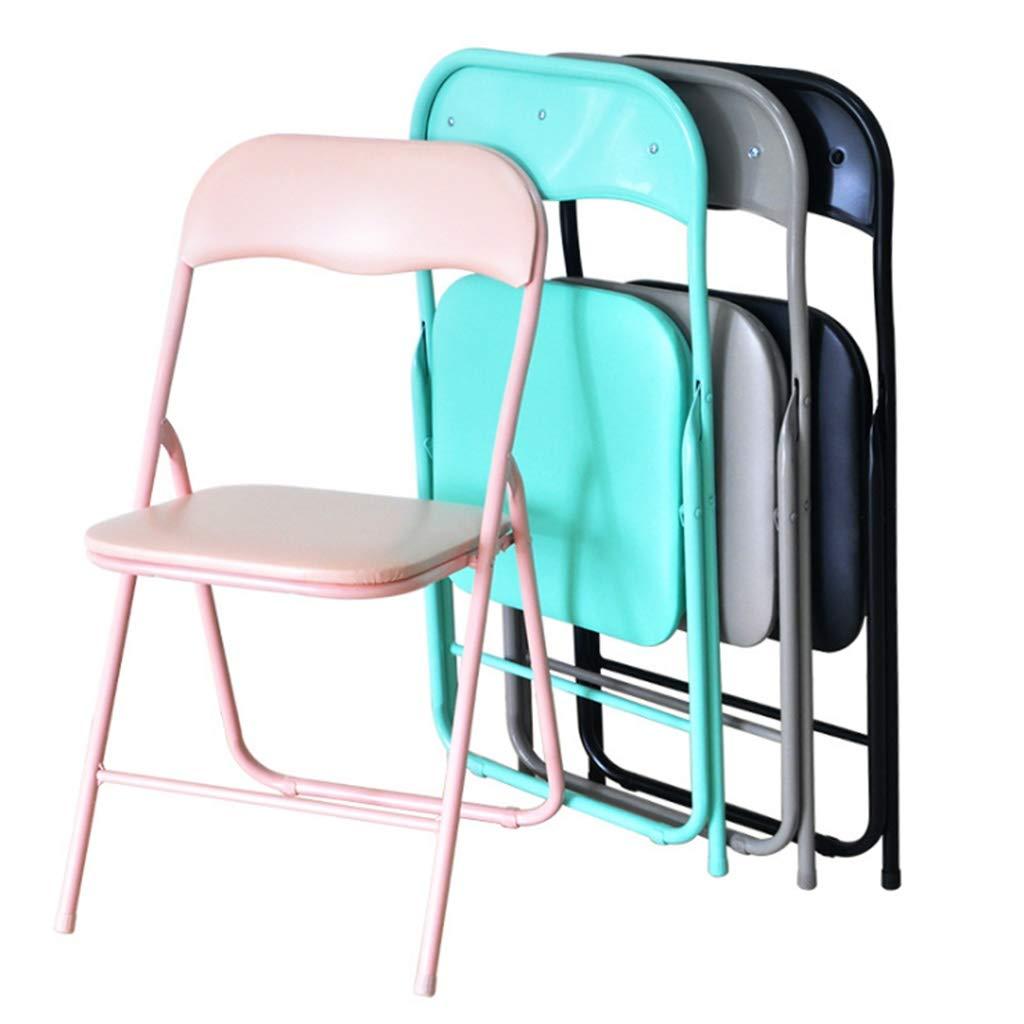 YANXIH 2 st bärbar stol metall - konstläder och starkt järnrör, enkel förvaring, kontor, skrivbordsstolar, sittplatser, storlek 81 cm x 44 cm x 43 cm (färg: T1) T5