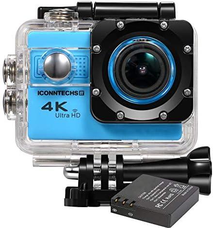ICONNTECHS IT Action Kamera 4k wasserdichte Sport Action Cam für Tauchen WiFi 170 Grad Weitwinkel 60 Bilder pro Sekunde 20 MP HD Helmkameras Unterwasser Camcorder