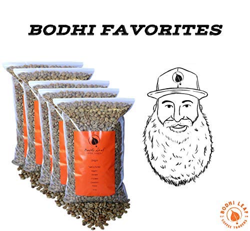 Bodhi Favorites Sampler Pack - Top 5 Green Coffees Recommended By our Roastery - Green Unroasted Coffee Beans - 100% Arabica Raw Coffee - Specialty Grade - Fresh Crop (25 LB - 5 lbs of Each)