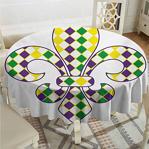 XXANS Round Outdoor Tablecloth,Mardi Gras,Ancient Fleur De Lis with Traditional Festival Pattern Venetian Vintage,Table Cover for Home Restaurant,55 INCH,Purple Green Yellow