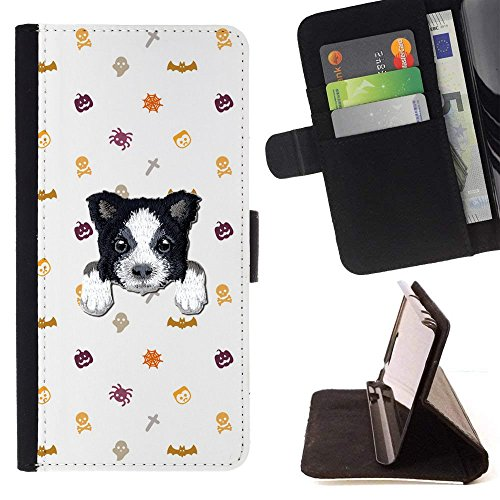 [ BORDER COLLIE ] Embroidered Cute Dog Puppy Leather Wallet Case FOR LG K4 (2017) / LG K8 (2017) / LG Aristo/LG Phoenix 3 / LG Risio 2 / LG Fortune [ Pumpkin Halloween Decoration Pattern ] ()