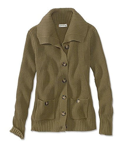 Orvis Women's Cotton Boyfriend Cardigan, Olive, Small