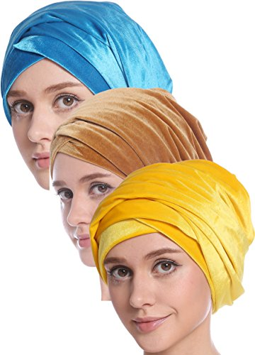 Ababalaya Women's Elegant Gold Velvet Luxury Magic Turban Cap Indian Cap Muslim Headscarf 67×10 Inch,Yellow+Peacock+Gold