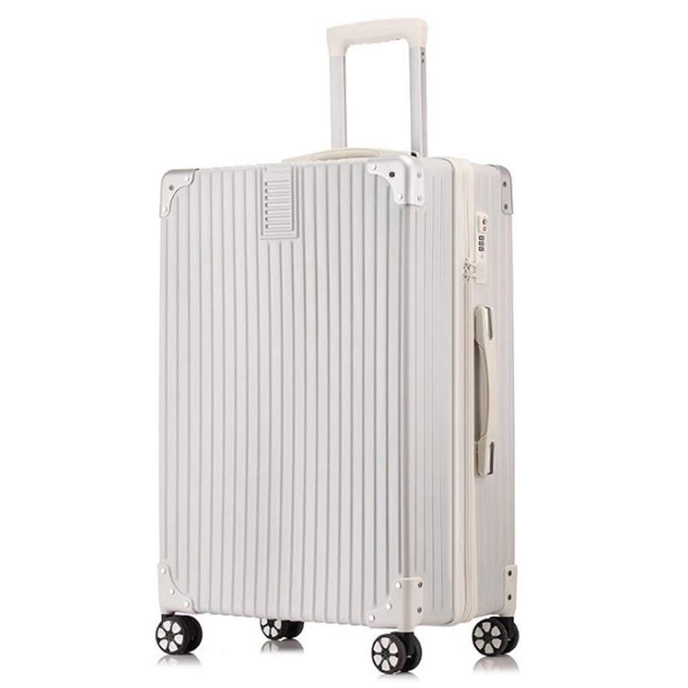 スーツケーストロリーABS + PCキャリーキャビン荷物ハードシェルトラベルバッグ軽量4スピナーホイール B07S62WFQS White