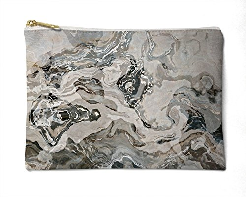 Makeup Bag or Pencil Case with Abstract Art in Grey, White and Brown, Geologic by Abstract Art Home