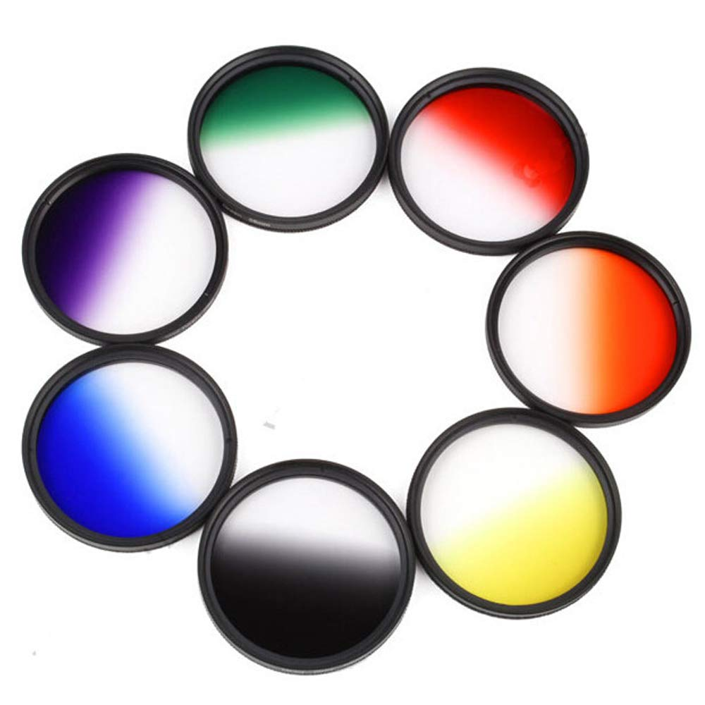 Yunchenghe Set Color Filters Camera Lenses, 62 mm Thread, Includes Orange/Red / Yellow/Gray / Blue/Green / Purple -7 Pieces