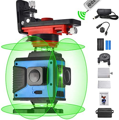 4X360 Cross Line Laser Leveling, 4D Remote Control 16 Lines Green Beam Four Plane Lasers 2×360 Vertical 2×360 Horizontal Line,Wider Range of Illumination,High Precision,Auto Self Leveling