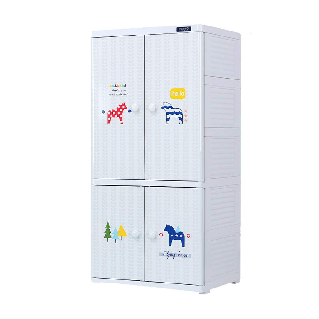 Zzg-2 Clothing Finishing Cabinet, Children's Room Assembled Plastic Chest of Drawers Multi-Layer Toy Snack Storage Box Wardrobe, 5841118.5CM (Color : B)