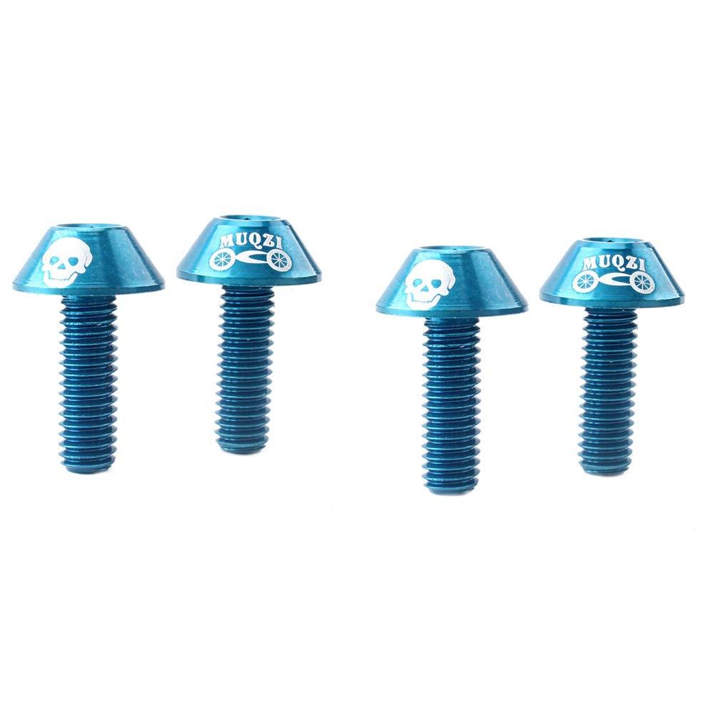 VORCOOL 4pcs Tornillos de Freno de aleación de Aluminio Tornillo de Freno de Bicicleta de montaña Tornillos de Rotor Tornillos Tornillos de Freno M6 V (Azul)