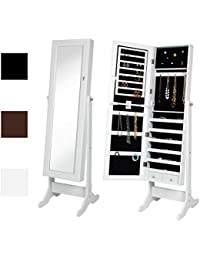 Mirrored Jewelry Cabinet Armoire w/ Stand Rings, Necklaces, Bracelets - White