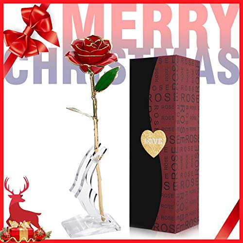 24K Gold Foil Trim Red Artificial Rose Flower Long Stem with Transparent Stand, Best Gift for Valentines Day, Mothers Day, Anniversary, Wedding, Birthday Gift, Treating Yourself (Red)