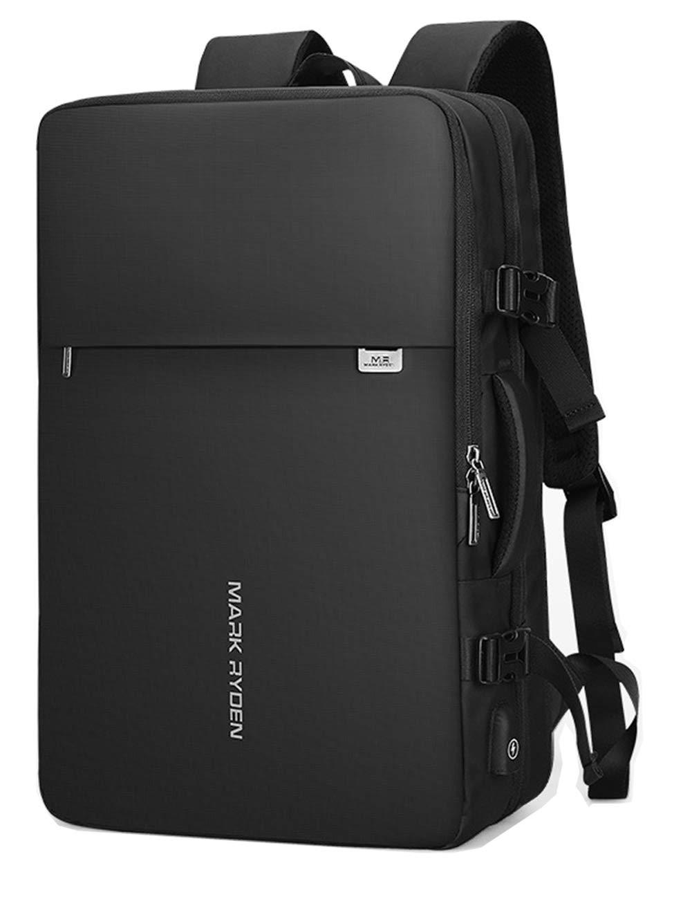 盗難防止メンズビジネスバックパック/防水大容量17インチコンピュータバックパックUSB充電旅行バックパックは拡大することができます B07S7HY92Y