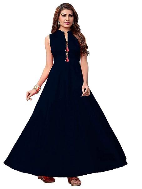c4f40a05e56 Feministaaa Womens Taffeta Satin Navy blue Gown